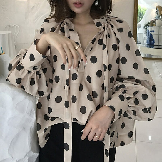 Polka Dot Blouse Lantern Sleeve (Plus Sizes Available)