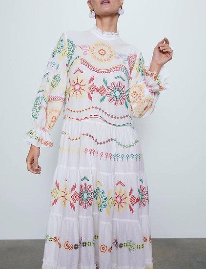 Ruffled Collar Flower Print Flare Sleeve Maxi Dress