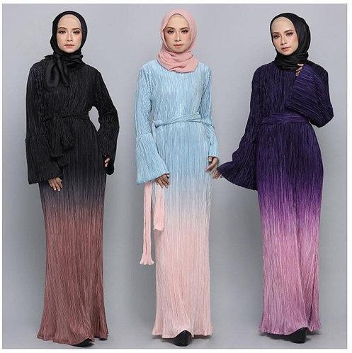 Gradient Colour Long Dress Ruffles