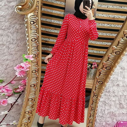 Dotted Ruffled Hem Maxi Dress (Plus Sizes available)