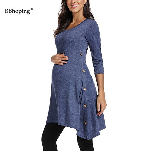 3/4 Sleeve Maternity Button Side Tunic