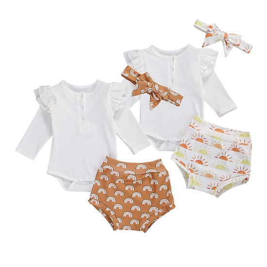 Ruffle Long Sleeve Romper + Shorts + Headband Sizes 0-12months