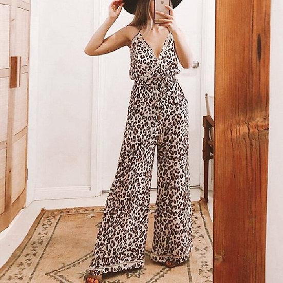 Leopard Print Jumpsuit Wide Leg