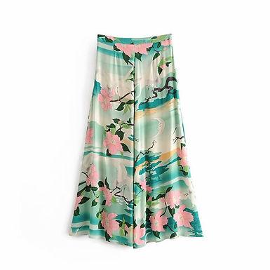 Crane Print Wide Leg Bohemian Pants