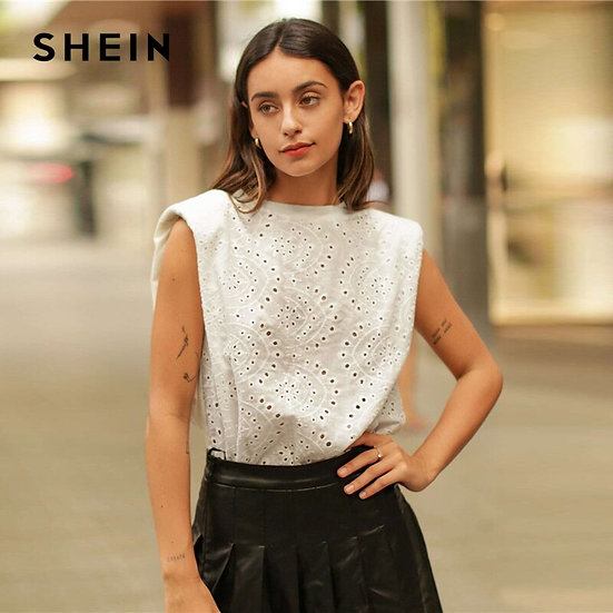 White Cap Sleeve Eyelet Embroidery Top