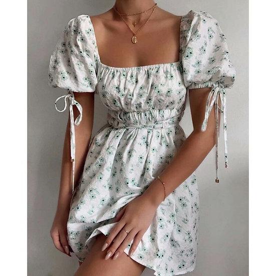 Green Floral Puff Short Sleeve Mini Dress