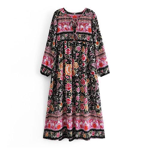 Black & Pink Floral Print Long Sleeve Maxi Dress