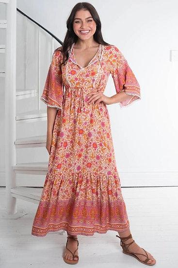 Peacock Print V-Neck Lace Collar Maxi Dress
