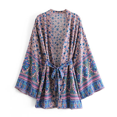 Boho Vintage Purple Floral Print Short Kimono