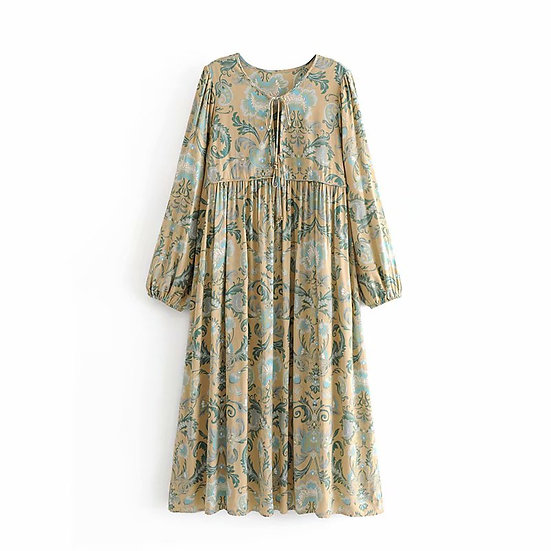 Vintage Chic Peacock Floral Maxi Dress