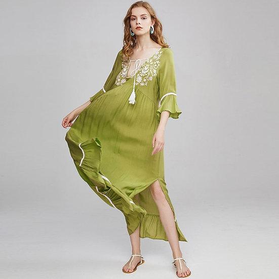 Vintage Floral Embroidery v Neck Flare Sleeve  Maxi Dress