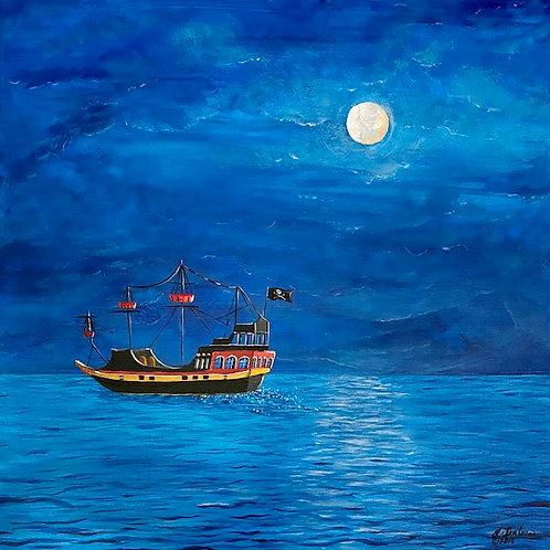 """Moonlight Pirate Ship"" Print"
