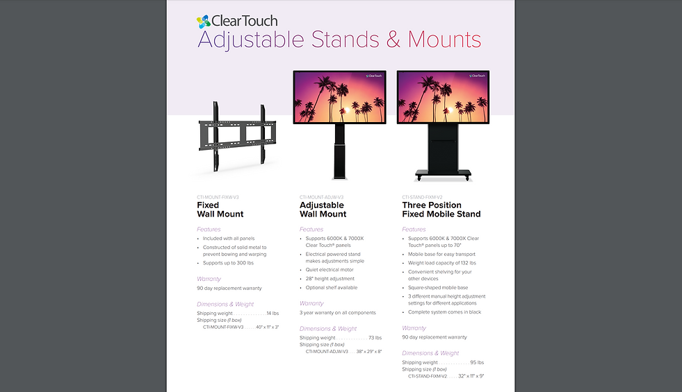ClearTouch mobile stand specs S1 11.6.19