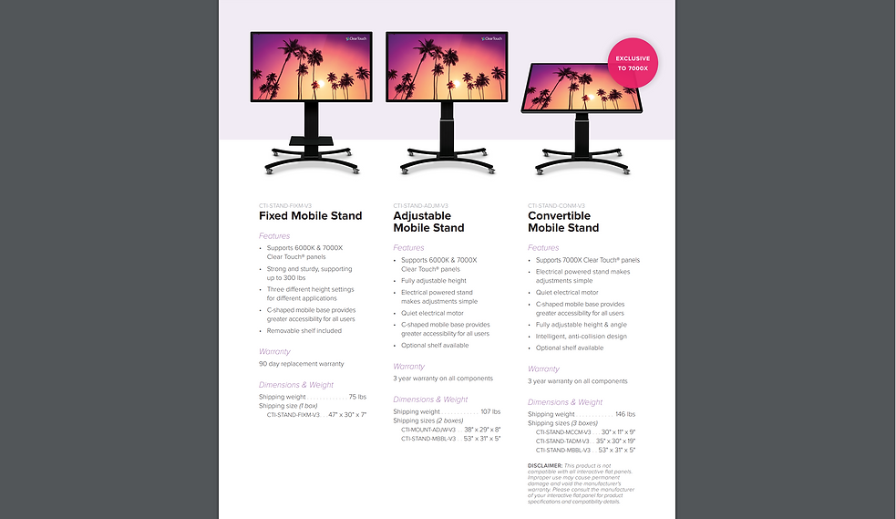 ClearTouch mobile stand specs S2 11.6.19