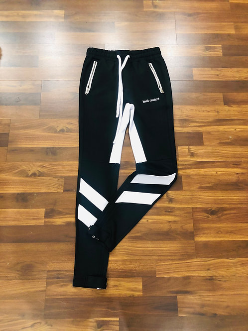 BLACK & WHITE HOOD COUTURE TRACK PANTS
