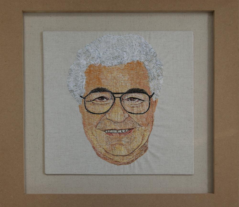 My friend Carluccio –Stitch on linen (60 x 60 cm). Embroidery art by Victoria Merness.