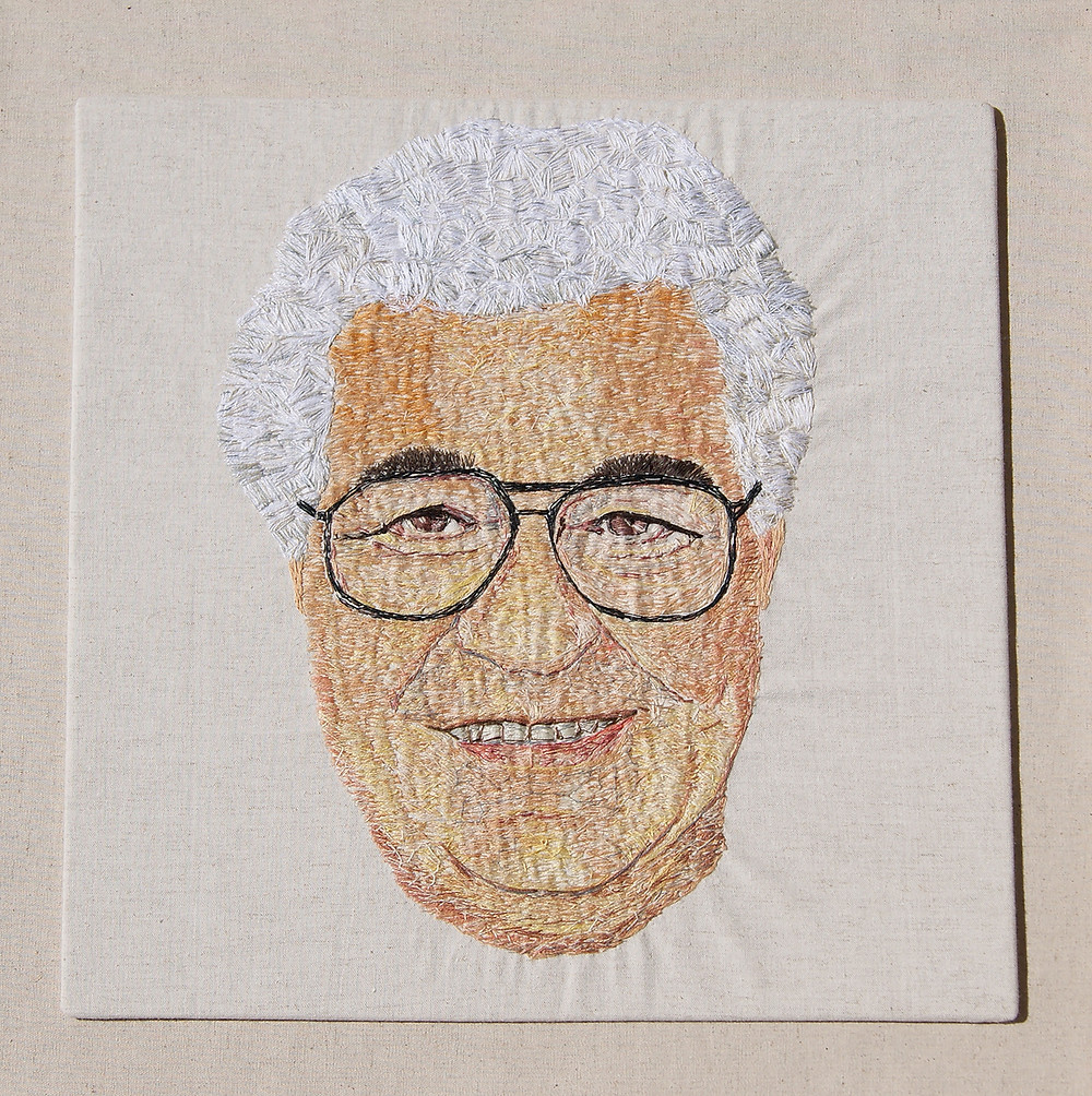 My Friend Carluccio - stitch on linen, 60 x 60 cm. Embroidery kits by Victoria Merness.