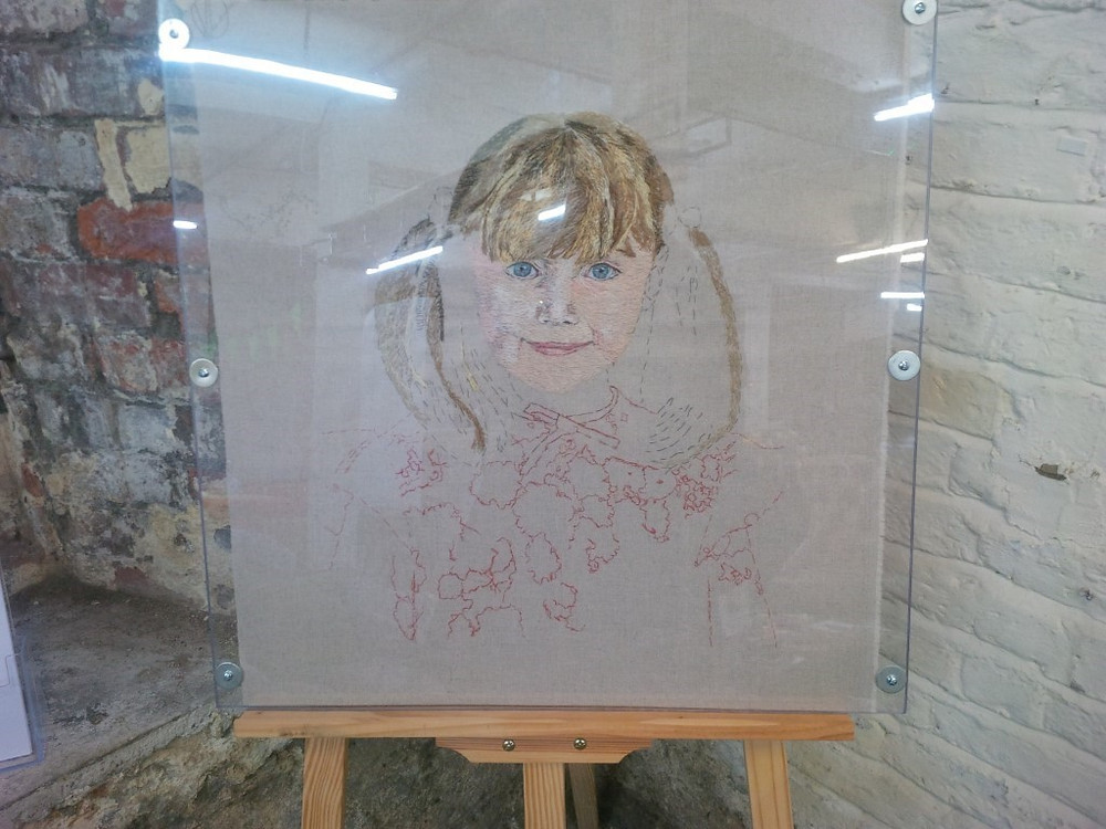 Victoria Merness: Self Portrait as a child – 60x60cm – stitch on linen