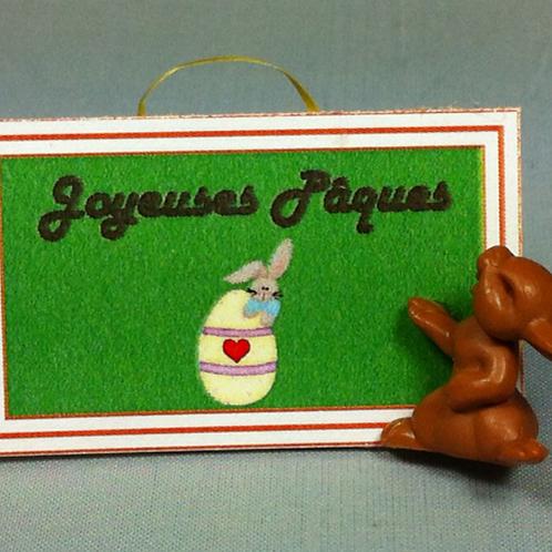 Pancarte lapin chocolat miniature 1/12, maison de poupée