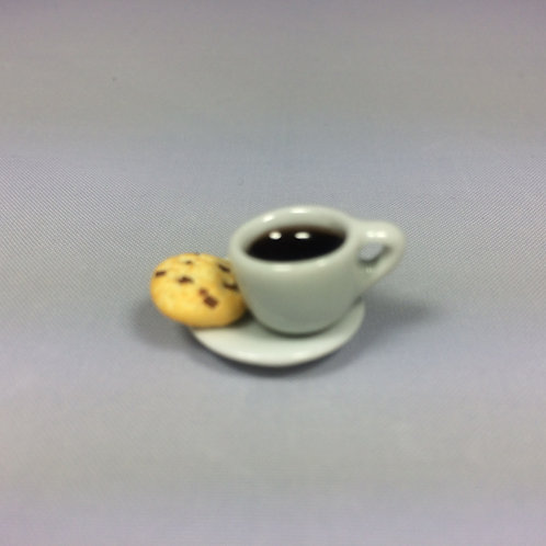 Café avec cookie miniature, maison de poupée