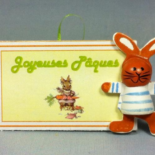 Pancarte miniature lapin t-shirt 1/12, maison de poupée