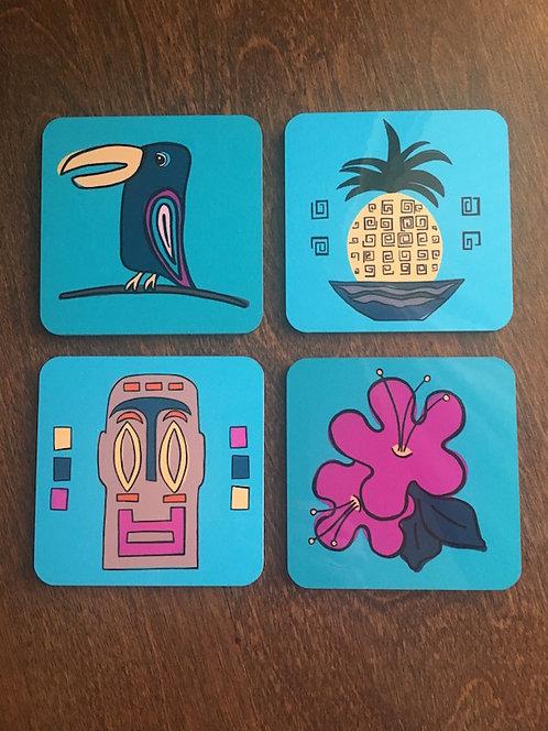 Tiki Party Coasters - Set of Four