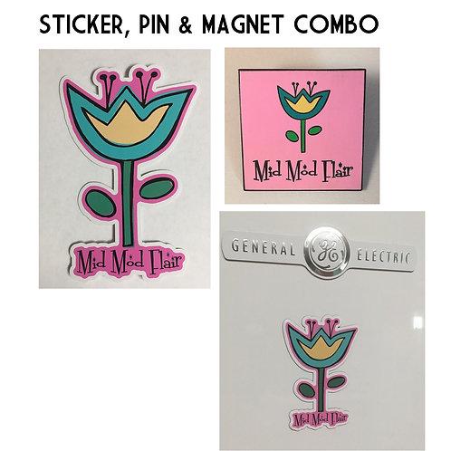 Flower Sticker, Pin & Magnet Combo - $16