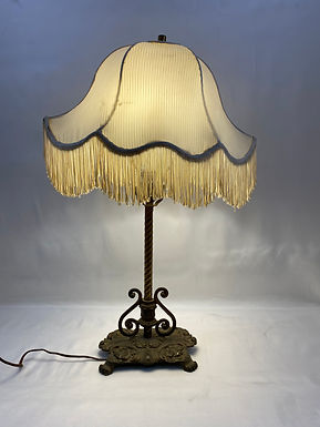 Brass Table Lamp with Fringed Shade