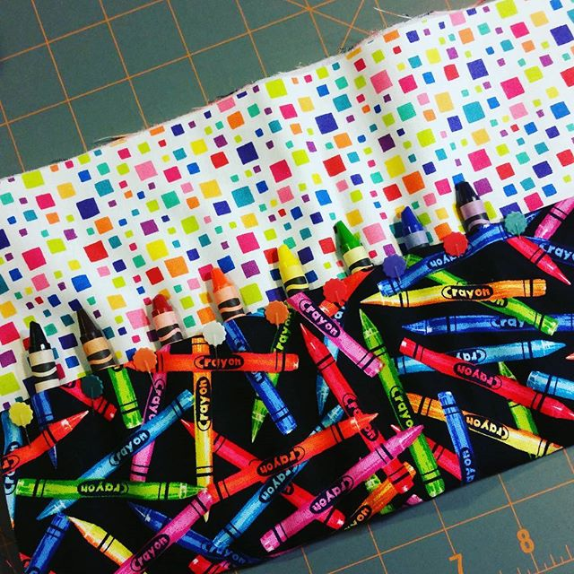 For my newest creation! #crayons #sewing #notablecreations #homemade #toocute #funfabric #forthekids