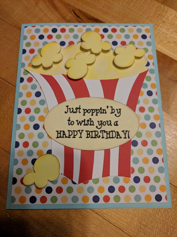 Popcorn Birthday Card
