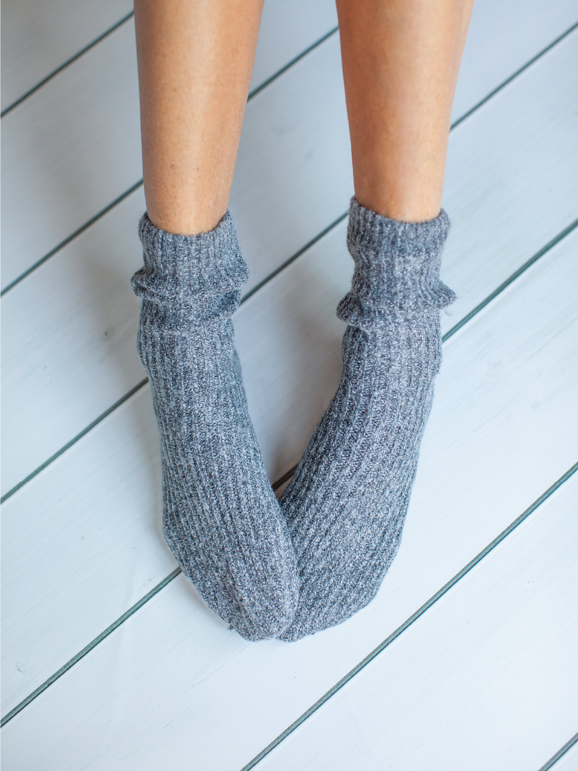 Grey Albi & Mac ribbed girlfriend socks