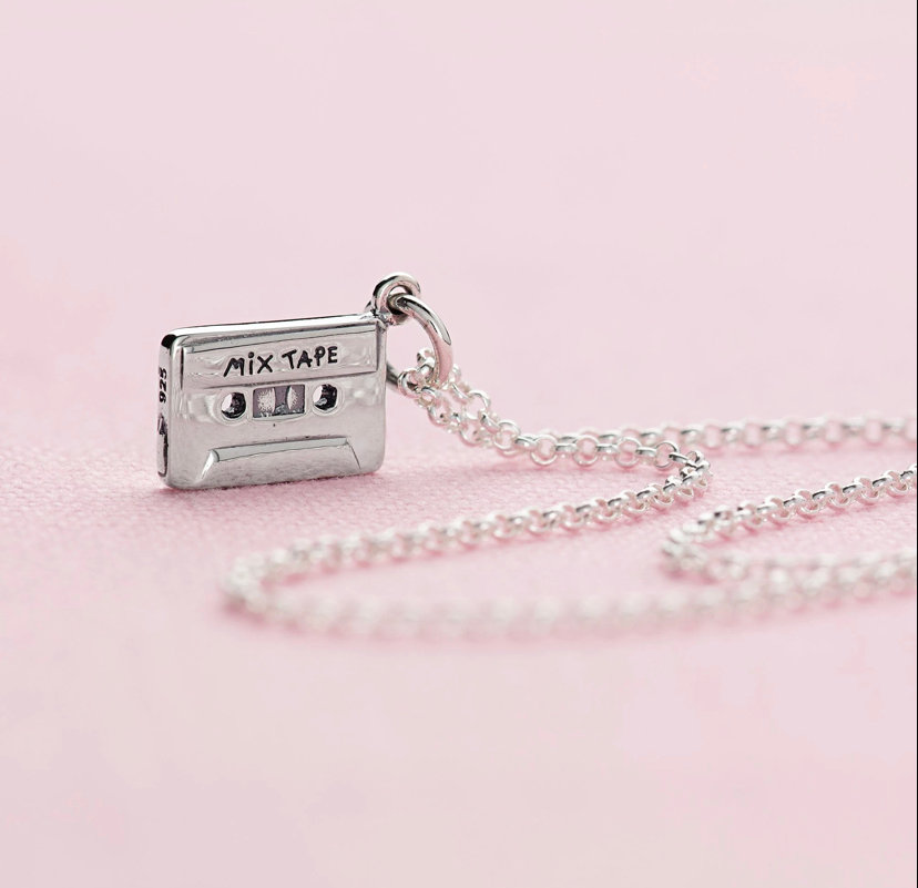 Cassette tape charm  on necklace or bracelet