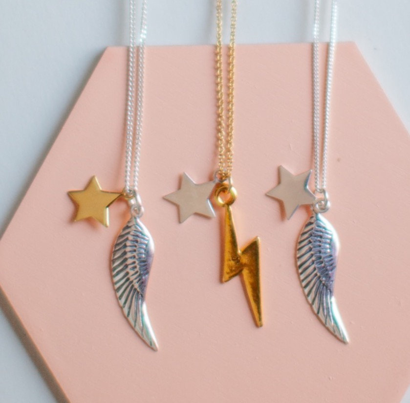 Sterling silver angel wing and lightening bolt necklace