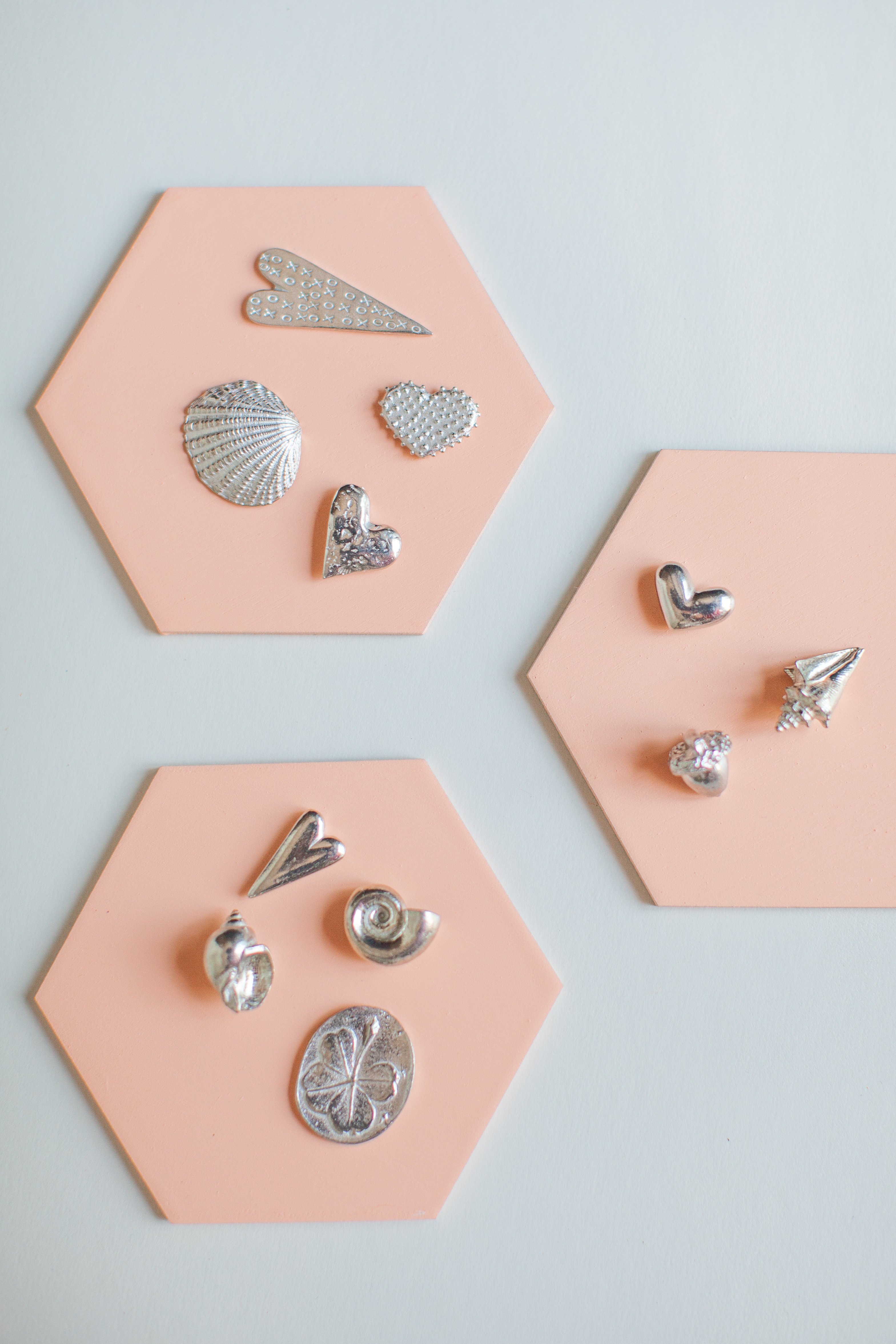 Pewter shell, acorn, heart pewter charms