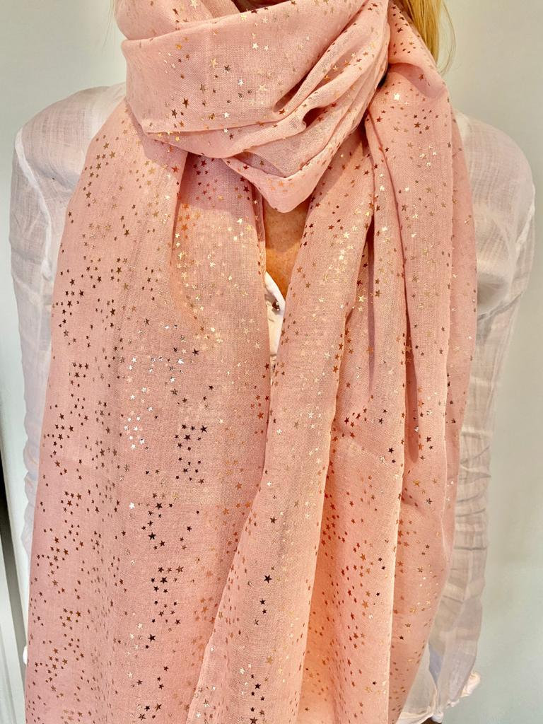 pink scarf with sparkly stars on it