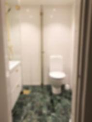 Badrumsrenovering i Nacka, bilden visar badrum efter renovering utförd av Badrumsgruppen