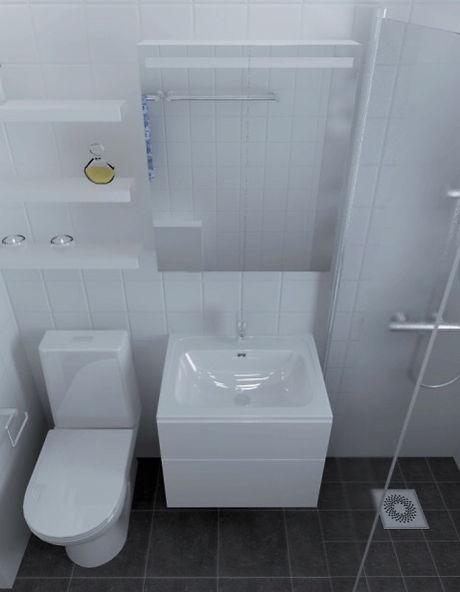 3D-ritning av badrummet före renovering utförd av Badrumsgruppen