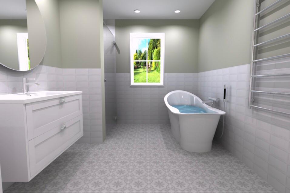 3D-ritning av badrum med badkar ritad av Badrumsgruppens inredare