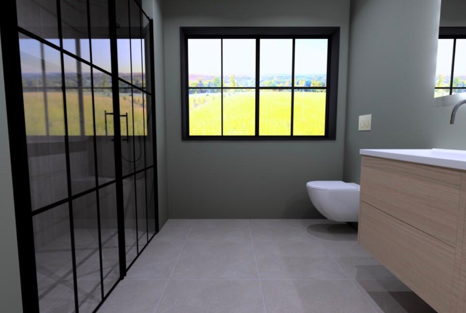 3D-ritning av badrum ritad av Badrumsgruppens inredare