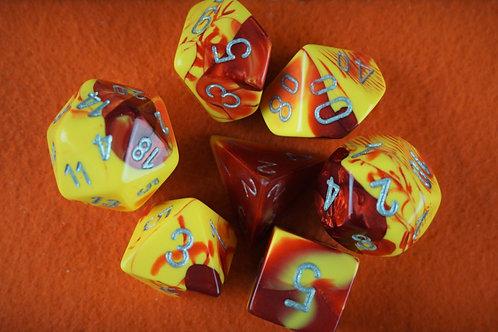 Ensemble de 7 dés polyhédriques Chessex - Gemini Red-Yellow w Silver