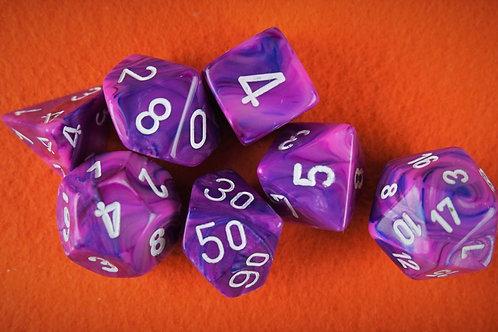 Ensemble de 7 dés polyhédriques Chessex - Festive Violet/white