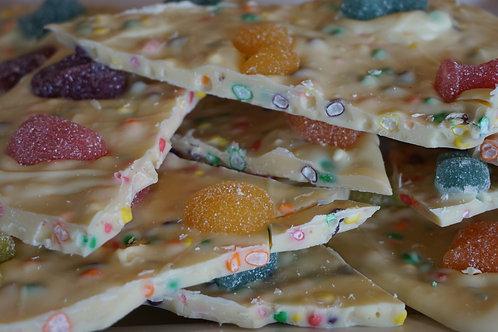 """Écorces au chocolat blanc """"Caca de Licorne"""" (Nerds et Gummies) - 100g"""