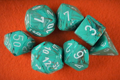 Ensemble de 7 dés polyhédriques Chessex - Marble Oxi-Copper/White