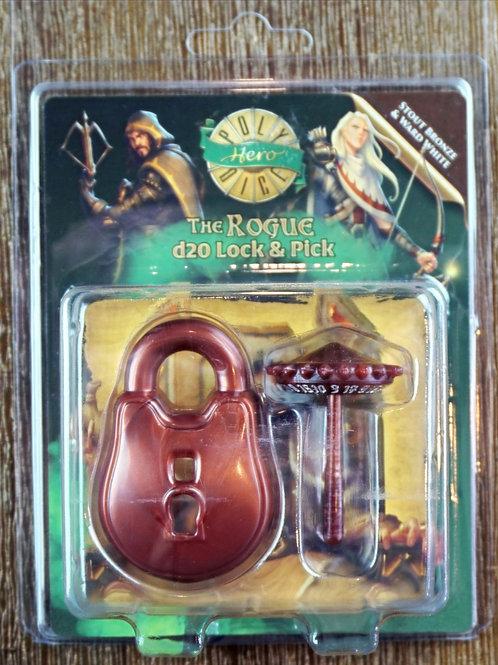 The Rogue d20 Lock & Pick - Stout Bronze & Ward White