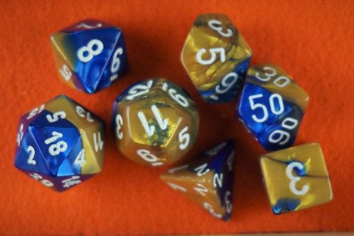 Ensemble de 7 dés polyhédriques Chessex - Gemini Blue-Gold / White