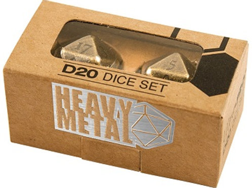 D&D Heavy Metal Antique D20 Dice Set (ensemble de 2 d20)