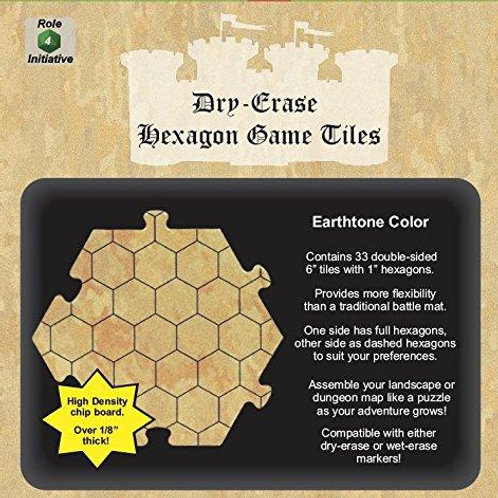 33 Earthtone Hexagon Dry-Erase Game Tiles