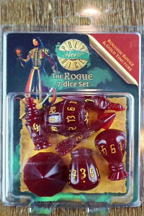 The Rogue -7 Dice Set - Roguish Rouge & Gold Tincture