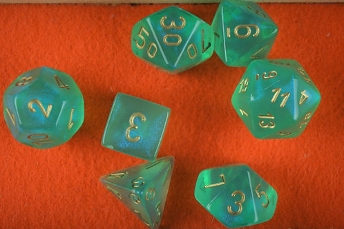 Ensemble de 7 dés polyhédriques Chessex - Borealis Light Green/Gold