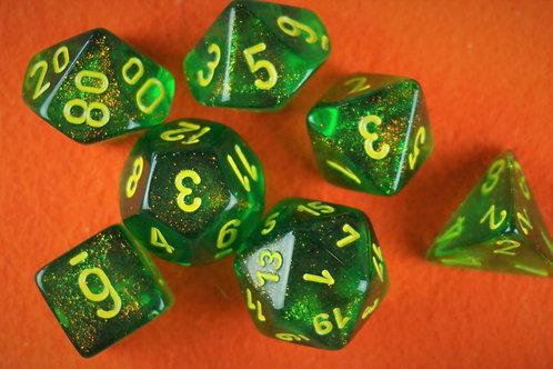 Ensemble de 7 dés polyhédriques Chessex - Borealis Maple Green/Yellow